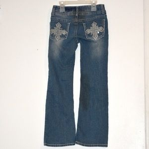 Girls Silver Embroidered Bootcut Jeans 6